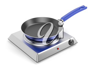 Silver hot plate and frypan on white background