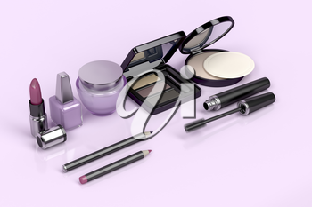 Makeup and cosmetic set on shiny pink background