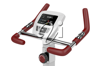 LCD display of exercise bike showing distance, calories burned, average speed, elapsed time and heart rate