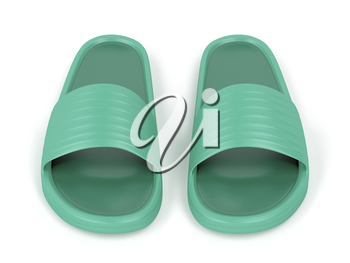 Front view of green rubber slippers
