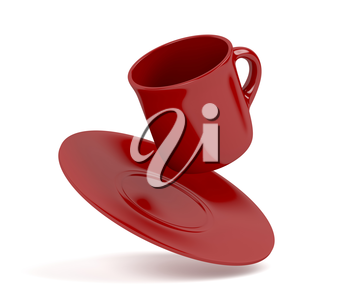 Red coffee cup falling on white background
