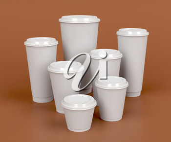 Takeaway coffee cups with different sizes