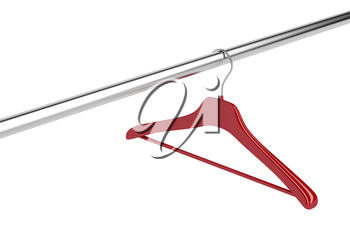 Red clothes hanger isolated on white