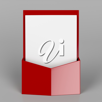 Red brochure stand on gray background