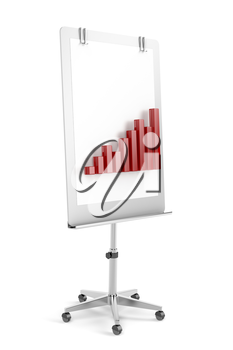 Flip chart with bar chart on white background