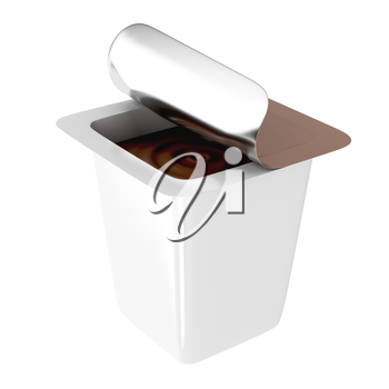 Chocolate pudding or ice cream in plastic packaging with foil lid, isolated on white background