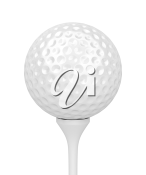 Golf ball on tee isolated on white background