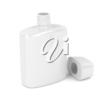 Open white bottle for aftershave lotion or perfume on white background