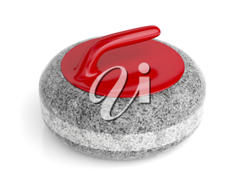 Curling stone on white background