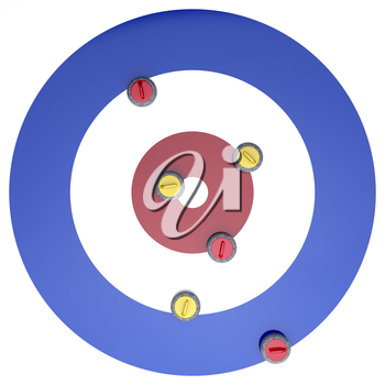 Top view of curling stones on ice