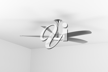 Silver ceiling fan with five blades