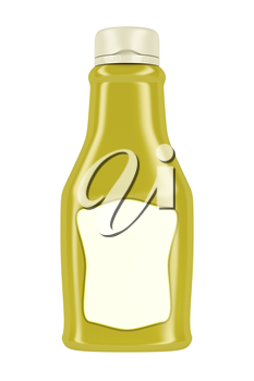 Bottle for mustard or mayonnaise isolated on white background