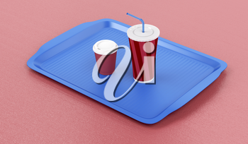 Plastic tray with coffee cup and soft drink on red table