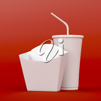 Box for french fries and soda cup on red background