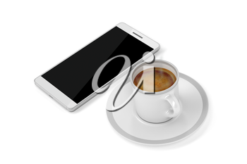 Espresso coffee and smartphone on white background, top view