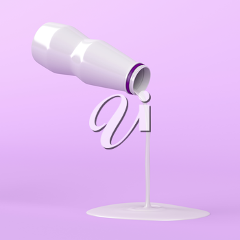Pouring milk from plastic bottle on pink background