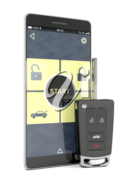 Car key and smartphone with app replacing car key