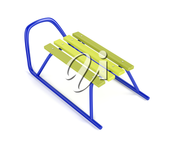 Sledge on white background, 3D illustration
