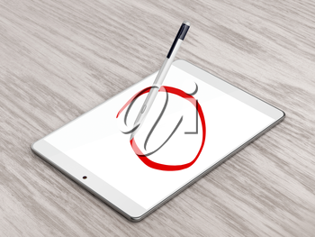 Drawing circle with digital pen on tablet computer