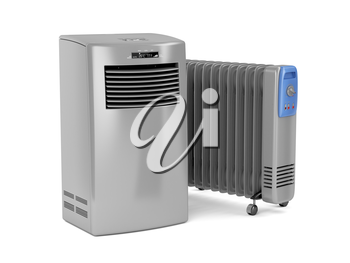 Portable air conditioner and oil-filled electric heater on white background