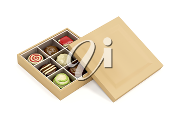 Gift box with a selection of chocolate pralines
