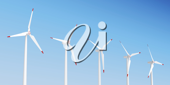 Group of wind turbines generating electricity