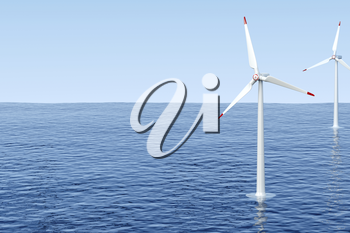Wind turbines generating electricity in the sea