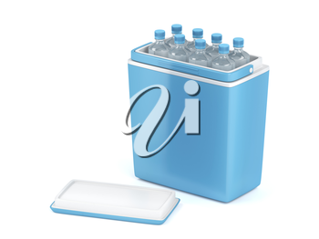 Blue cooling box with bottles on white background