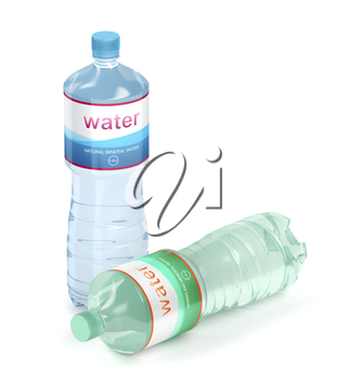 Mineral and sparkling water bottles on white background