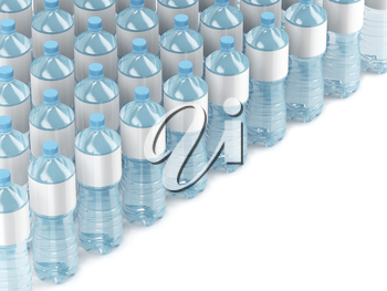 Many rows with plastic water bottles, 3D illustration
