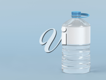 Large plastic water bottle on blue background