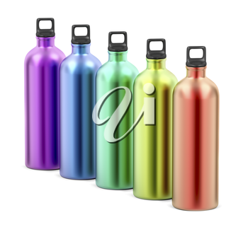 Colorful aluminum water bottles on white background
