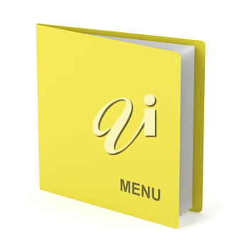 Yellow menu with leather cover on white background