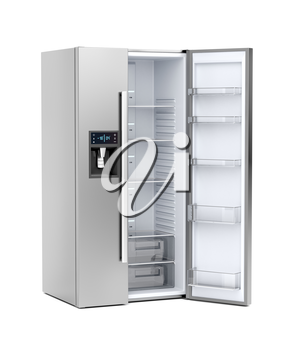 Silver big refrigerator with opened door on white background