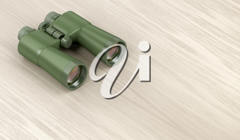 Green military binoculars on wooden table, 3D illustration