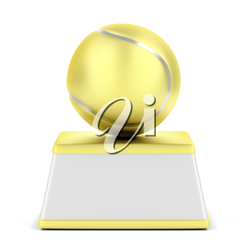Gold tennis ball trophy on white background
