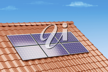 Solar panels on the roof of a building, 3D illustration