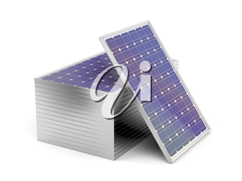 Stack of solar panels on white background