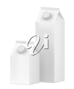 Two blank containers for milk, juice or other beverages