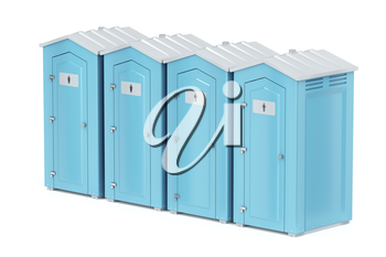 Row with four portable plastic toilets on white background