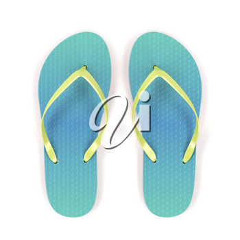 Flip flops on white background, top view