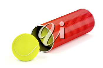 Can with new tennis balls on white background