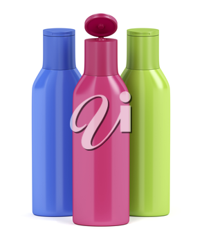 Three plastic bottles for cosmetic liquids with different colors