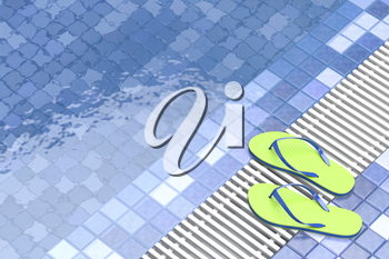 Flip flops by the swimming pool, 3D illustration