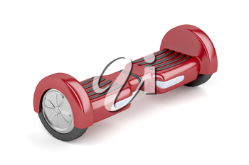 Red self-balancing scooter on white background