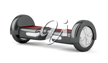 Self balancing electric scooter on white background