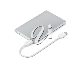 Big power bank with usb-c cable on white background