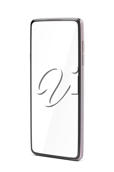 Pink smartphone with empty screen on white background