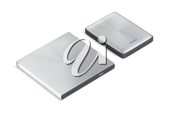 Portable optical disc drive and hard drive on white background