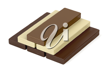 Wafers with different types of chocolate on white background